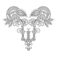 Neckline embroidery pattern