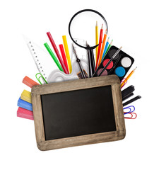 school tools with blackboard on white background