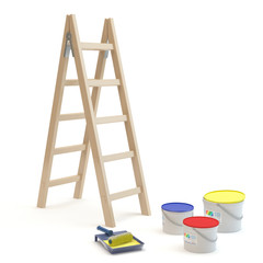 ladder and paints