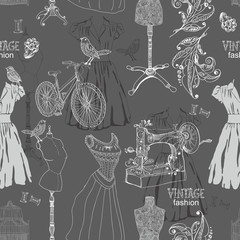 Vintage Seamless pattern - fashion and sewing