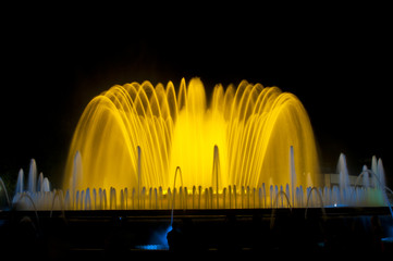 Magic fountains situated in Montjuich mountain, Barcelona, Spain