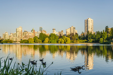 Vancouver Skyline and Reflection in Water at Sunset