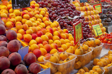 Fruit and vegetable stall in market de la Boqueria at Barcelona
