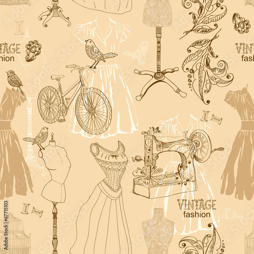 Vintage Seamless pattern - fashion and sewing - 67715103