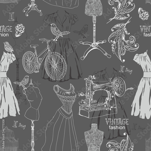 Vintage Seamless pattern - fashion and sewing - 67715108