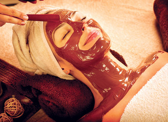 Chocolate Luxury Spa. Facial Mask. Beauty Spa Salon