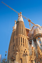 The Basilica of La Sagrada Familia in Barcelona, Spain