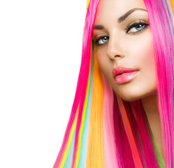 Colorful Hair and Makeup. Beauty Model Girl with Dyed Hair