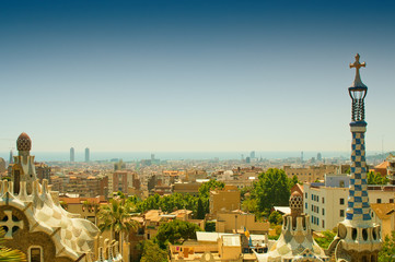 View on Barcelona from Park Guell. Toned image