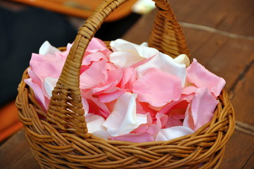 basket of wedding blossom