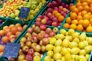 Fruits stall in La Boqueria, the most famous market in Barcelona