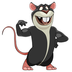 cartoon smiling big gray rat in a bodybuilder pose