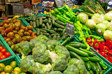 Vegetable stall in Mercat de la Boqueria at Barcelona