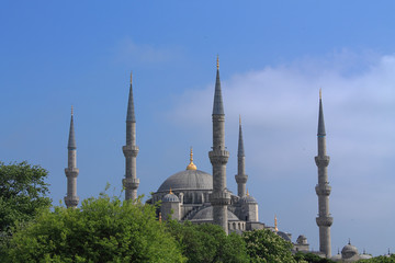 beautiful minarets on background of green trees