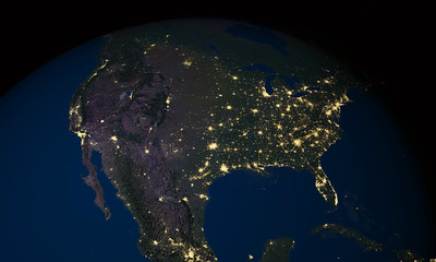 Earth at night over USA