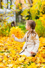 Little girl outdoors on autumn day