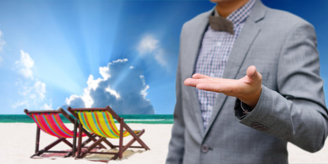 Businessman offer the summer trip, Vacation concept