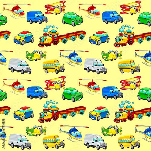 Naklejka Funny vehicles with background.