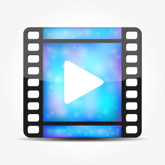 Blue movie player icon
