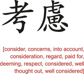 Chinese Sign for consider, concerns, into account,consideration