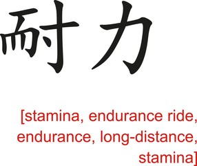 Chinese Sign for stamina,endurance ride,endurance,long-distance