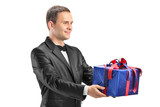 Guy holding a present