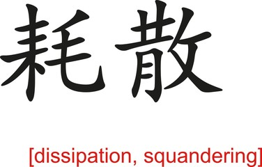 Chinese Sign for dissipation, squandering