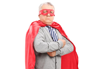 Mature man in superhero costume