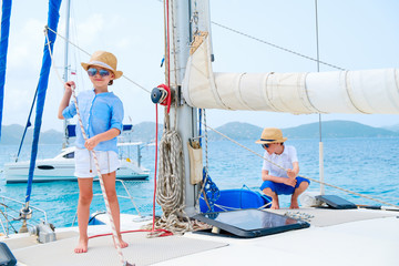 Kids at luxury yacht