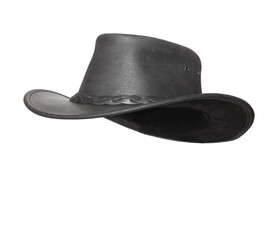 Black leather hat with space for your funny face.