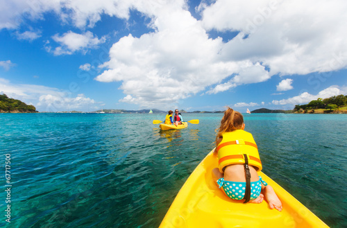 canvas print picture Family kayaking at tropical ocean