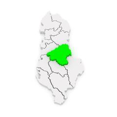 Map of Elbasan. Albania.