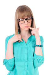 Hipster smart girl with glasses with thick frames