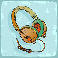 Cartoon headphones illustration