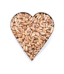 Wheat Grains in heart shapes (on white)