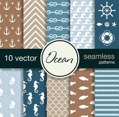 Nautical theme. 10 seamless vector patterns.