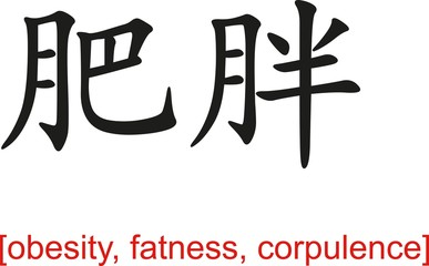 Chinese Sign for obesity, fatness, corpulence