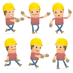 set of builder character in different poses