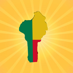 Benin map flag on sunburst illustration