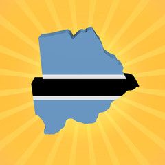 Botswana map flag on sunburst illustration