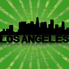Los Angeles skyline reflected dollars sunburst illustration