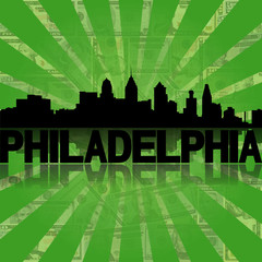Philadelphia skyline dollars sunburst illustration