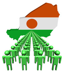 Lines of people with Niger map flag illustration