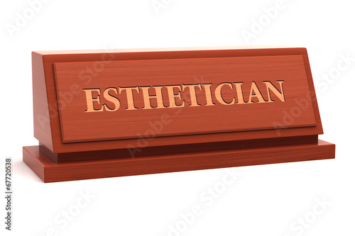 poster of Esthetician job title on nameplate