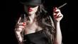 Leinwanddruck Bild - ragazza con cappello, sigaro e unghie rosse