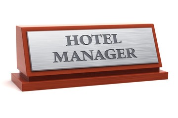 Hotel manager job title on nameplate