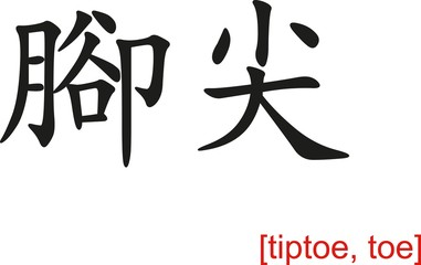 Chinese Sign for tiptoe, toe