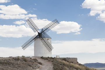 Beautiful windmill in Consuegra, Toledo, Spain
