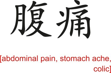 Chinese Sign for abdominal pain, stomach ache, colic