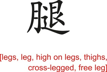 Chinese Sign for legs, leg, high on legs, thighs, cross-legged
